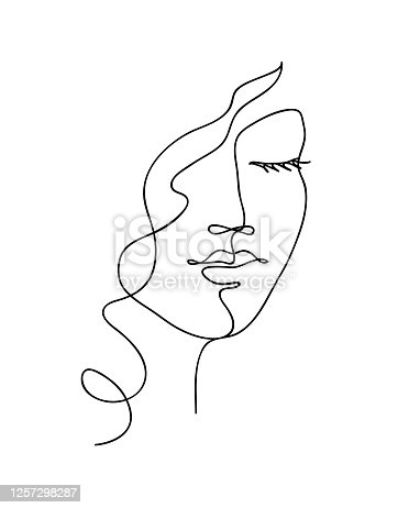 istock Abstract woman face with wavy hair. Black and white hand drawn line art. Outline vector illustration 1257298287