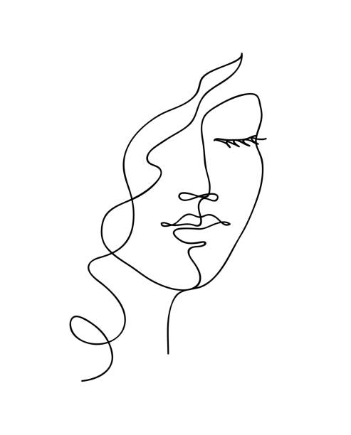 abstrakcyjna twarz kobiety z falistymi włosami. czarno-biała, ręcznie rysowana grafika liniowa. ilustracja wektorowa konspektu - linia stock illustrations