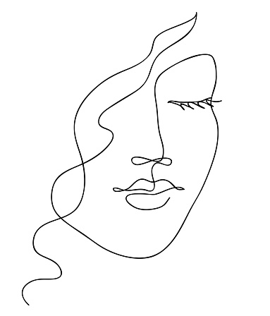 Abstract woman face with wavy hair. Black and white hand drawn line art. Outline vector illustration