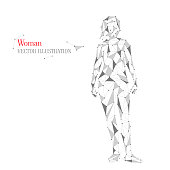 Abstract woman, human body from triangles. Vector geometric illustration.