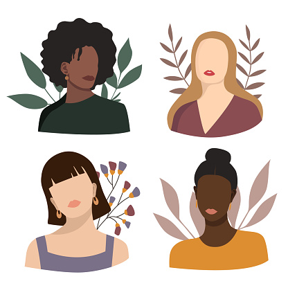 Abstract woman portraits. Set of female silhouettes. Young girls faces with floral background. Pastel colors. Vector illustration isolated on white background.