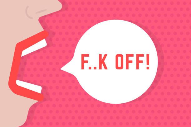 ilustraciones, imágenes clip art, dibujos animados e iconos de stock de resumen mujer grito mierda de burbujas de discurso - middle finger