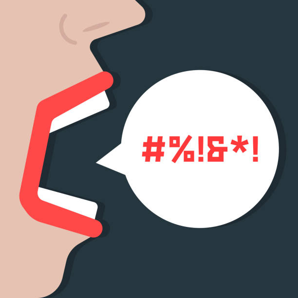 stockillustraties, clipart, cartoons en iconen met abstract vrouw schreeuwen obsceniteiten - swearing