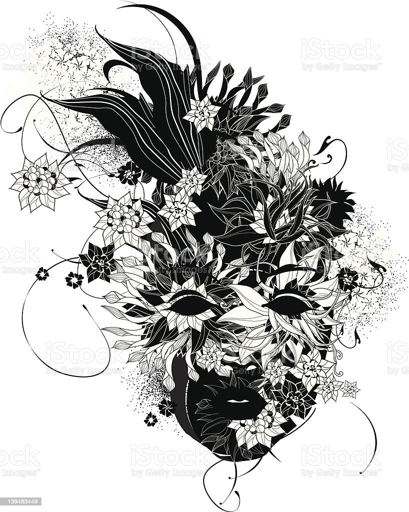 Abstract Women Face With Flowers Black And White Stock Vector Art