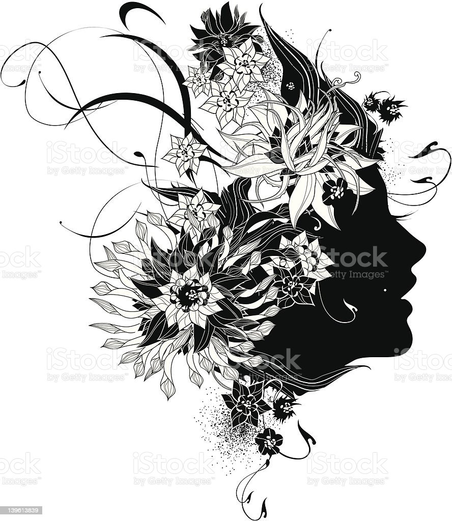 Abstract Women Profile With Flowers Black And White Stock Vector Art
