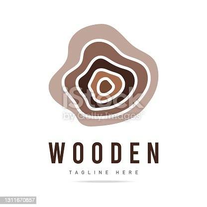 istock Abstract wood logo design template with wooden texture line icon,home,Logo design,Vector illustration,concept wood, sign,symbol,icon,Interesting design template for your company logov 1311670857
