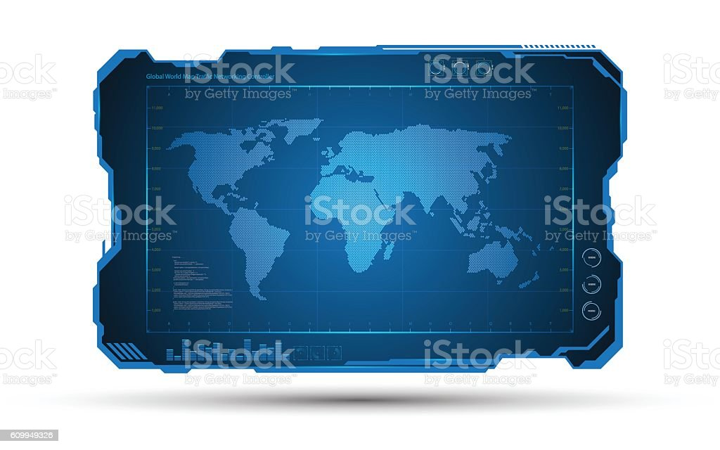 Abstract World Map Digital Frame Tech Sci Fi Design Background Stock ...