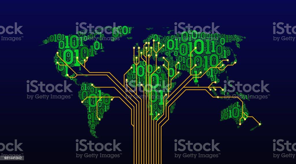 Karanlık Bir Arka Plan üzerinde Dijital çift Değişkenli Bir Kod Bir
