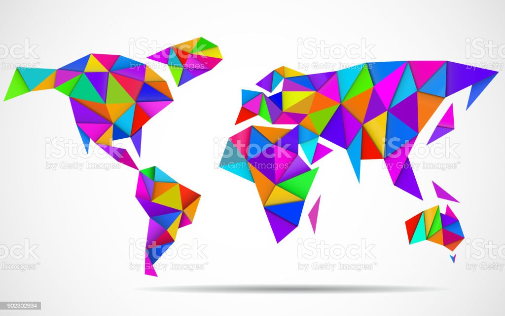 Abstract world map in geometric polygonal style vector art illustration
