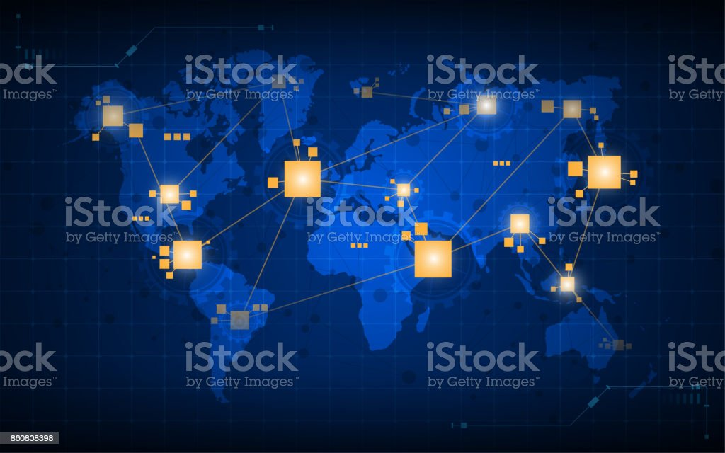 abstract world map networking connection digital tech concept background royalty-free abstract world map networking connection digital tech concept background stock illustration - download image now