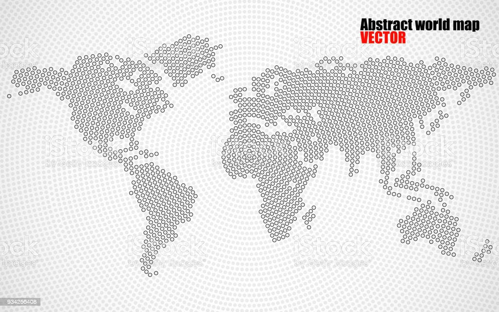 Abstract world map of radial dots stock vector art more images of abstract world map of radial dots royalty free abstract world map of radial dots stock gumiabroncs Image collections