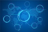 istock Abstract world map tech background 1196249822
