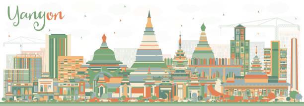abstract yangon skyline with color buildings. - burma home do stock illustrations
