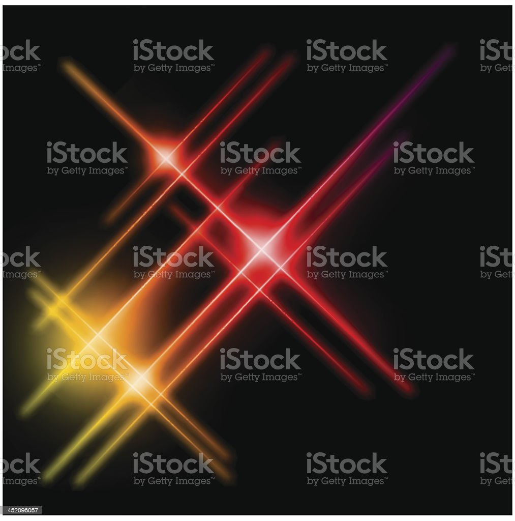 Abstract yellow and red rays lights. Vector royalty-free stock vector art
