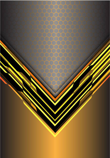 gelber pfeil digital metallischen lichtlenkung mit sechseck-netz auf graue design moderne futuristische hintergrund vektor-illustration zu abstrahieren. - edelrost stock-grafiken, -clipart, -cartoons und -symbole
