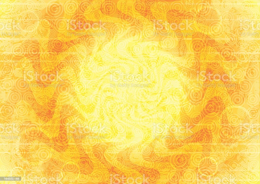 Abstract yellow background with orange winding pattern vector art illustration