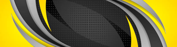 Abstract yellow black corporate wavy banner design vector art illustration