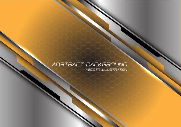abstrakte gelb-schwarze gradienten-hexagchen-meschen-schrägstrich auf silbernem polygon entwerfen moderne futuristische hintergrundvektordarstellung. - edelrost stock-grafiken, -clipart, -cartoons und -symbole