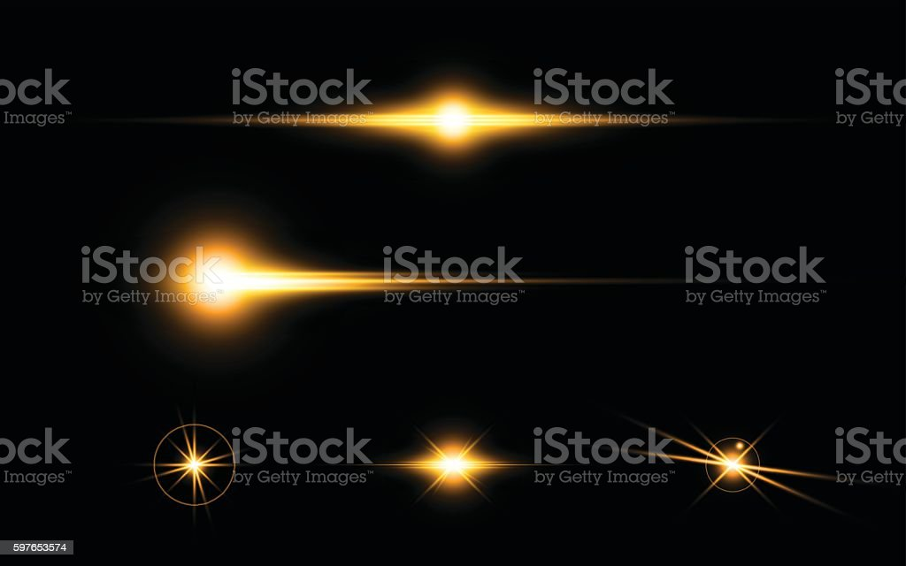 abstract yellow flare light speed lighting effect elements design concept vector art illustration