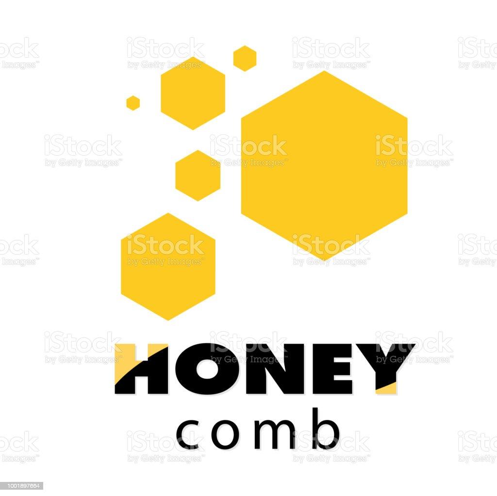 gelbes kuchendesign logos, abstrakte gelbe wabenweißem hintergrundvektorbild stock vektor art, Design ideen