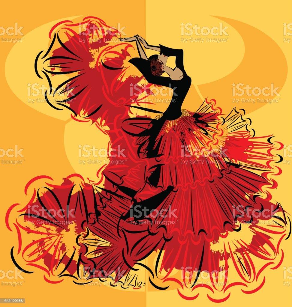 abstract yellow image of flamenco - ilustración de arte vectorial
