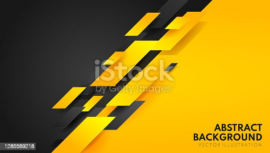 istock Abstract yellow orange and black contrast background.Tech futuristic corporate design. Geometric illustration for brochures, flyers, web graphic design. 1285589218