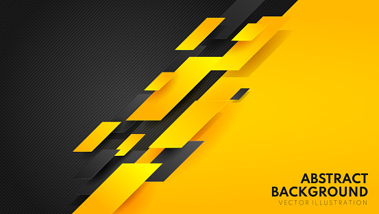 Abstract yellow orange and black contrast background.Tech futuristic corporate design. Geometric illustration for brochures, flyers, web graphic design.