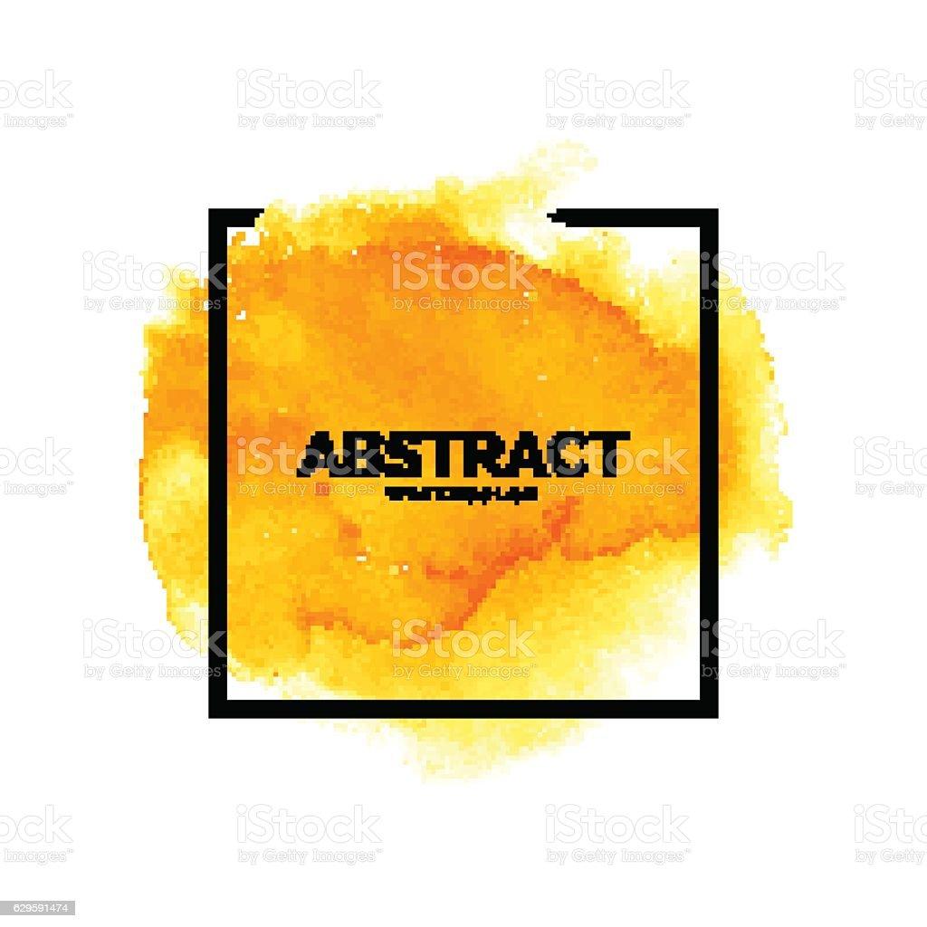 Abstract yellow watercolor splash with square frame - ilustração de arte em vetor