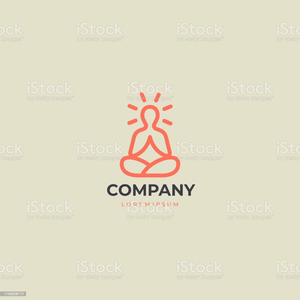 Abstract Yoga Logo. Modern linear vector icon. Fitness room, Yoga...