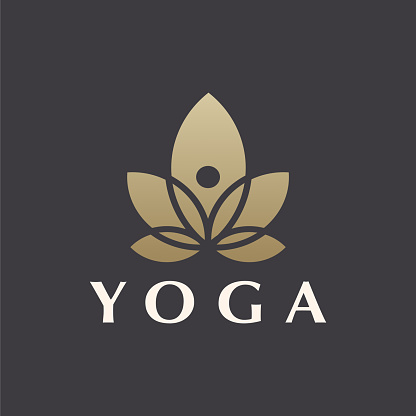 Abstract Yoga Logo template Luxury Style. lotus and human abstract.