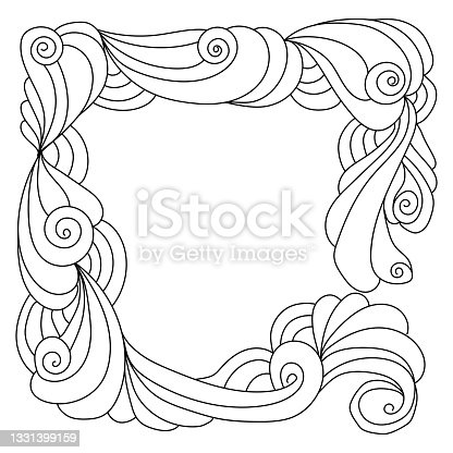 istock Abstract zen frame of ornate spirals and curls vector illustration 1331399159