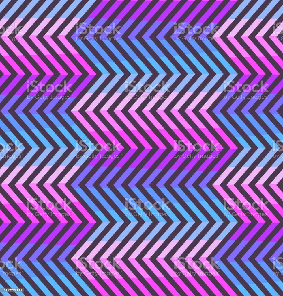 Abstract zigzag pattern in pink and violet colors vector art illustration