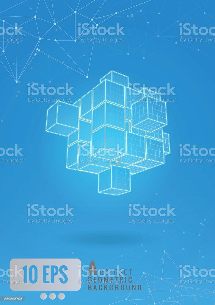 Abstract_geometric_cube_wireframe_set_glow_on_blue_BG vector art illustration