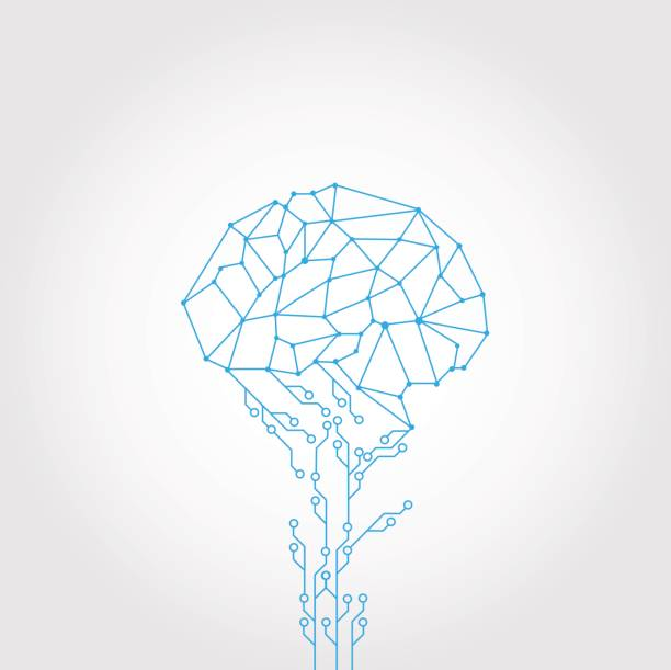 AbstractCircuit and style brain vector technology vector art illustration