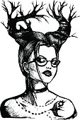 Abstraction girl with horns and glasses in vector. Hand draw