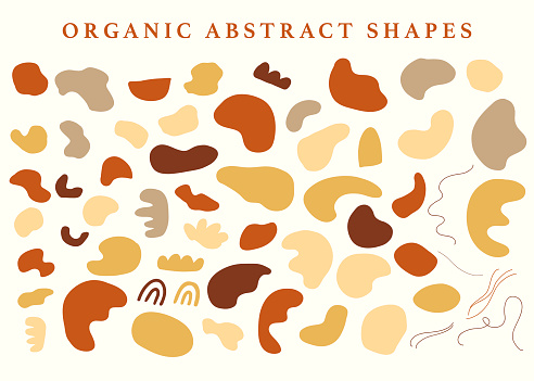Abstraction organic shapes set. Mid century trendy earthy colors. Contemporary art. Digital Painting. Hand drawn minimal collage design elements. Vector Illustration