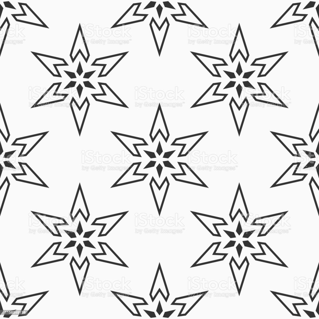 Abstractl six pointed stars seamless pattern. Repeating geometric...
