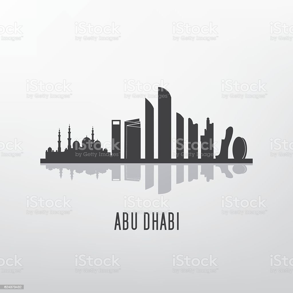 Abu dhabi architecture skyline silhouette vector art illustration