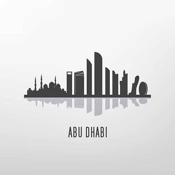 abu dhabi architecture skyline silhouette - abu dhabi stock illustrations