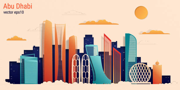 abu dhabi city colorful paper cut style, vector stock illustration - abu dhabi stock illustrations