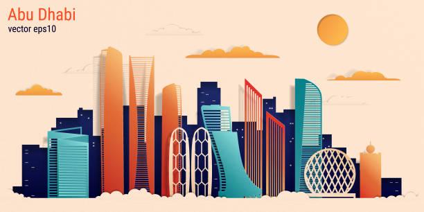 stil, hisse senedi vektör çizim abu dabi şehir renkli kağıt kesme - abu dhabi stock illustrations