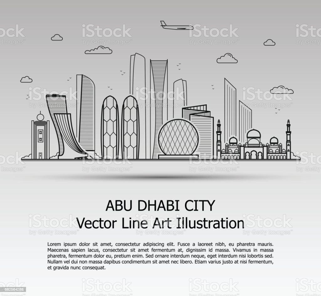 Abu Dhabi City Gray vector art illustration