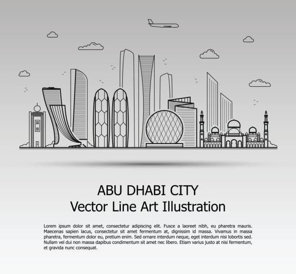 abu dhabi city gray - abu dhabi stock illustrations
