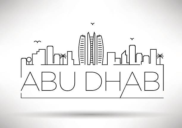 abu dhabi city line silhouette typographic design - abu dhabi stock illustrations