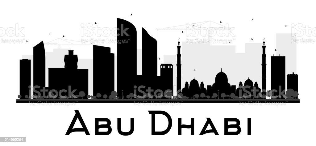 Abu Dhabi City skyline black and white silhouette. vector art illustration