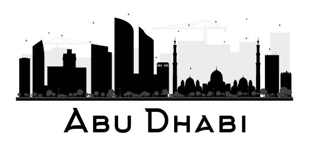 abu dhabi city skyline black and white silhouette. - abu dhabi stock illustrations