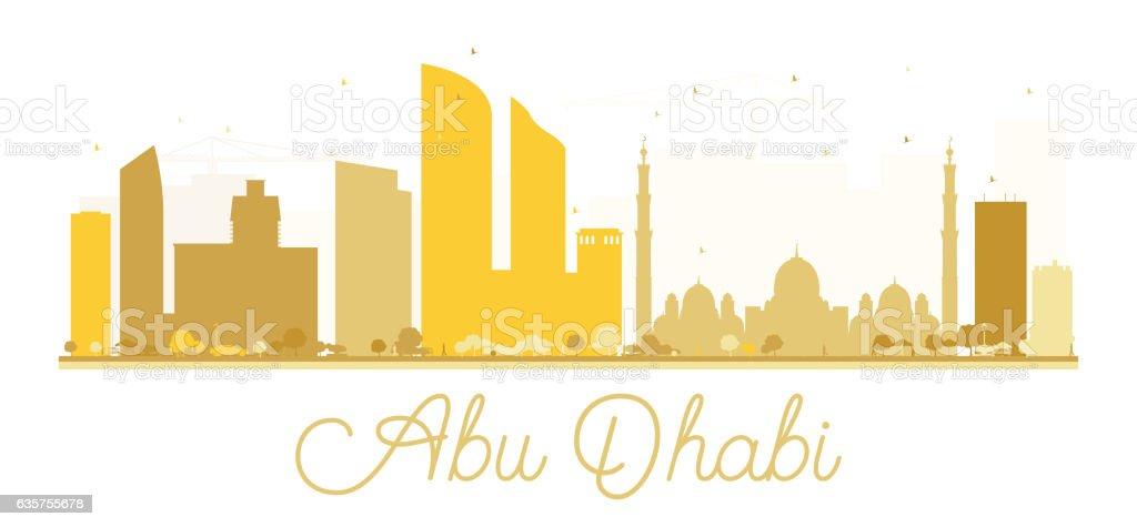 Abu Dhabi City skyline golden silhouette. vector art illustration