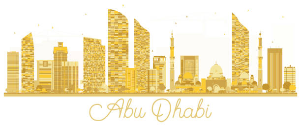 abu dabi şehir manzarası altın siluet. - abu dhabi stock illustrations