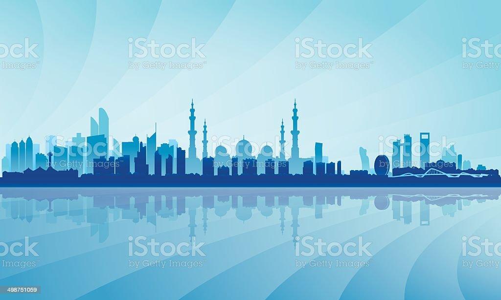 Abu Dhabi city skyline silhouette background vector art illustration