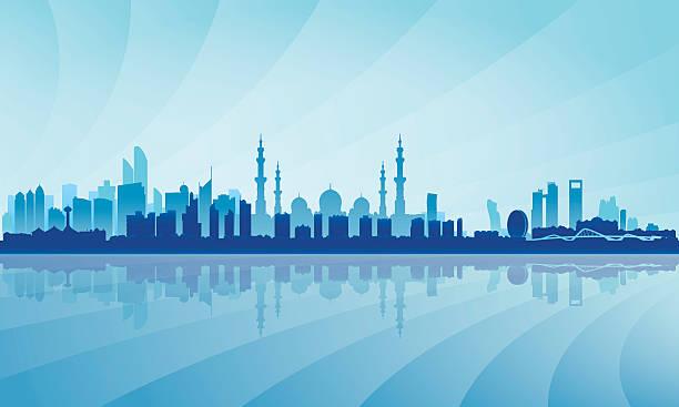 abu dhabi panoramę miasta sylwetka tło - abu dhabi stock illustrations